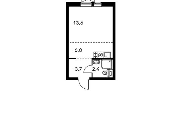 1-комнатная квартира, 25.9 м<sup>2</sup>, 22 этаж