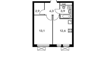 1-комнатная квартира, 36.8 м<sup>2</sup>, 30 этаж