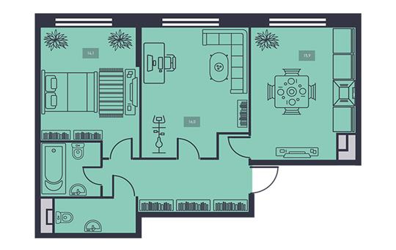 2-комнатная квартира, 61.7 м<sup>2</sup>, 17 этаж