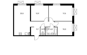 3-комнатная квартира, 78.6 м<sup>2</sup>, 25 этаж