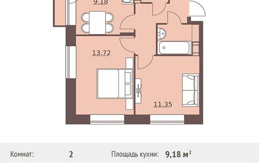 2-комнатная квартира, 45.54 м<sup>2</sup>, 4 этаж