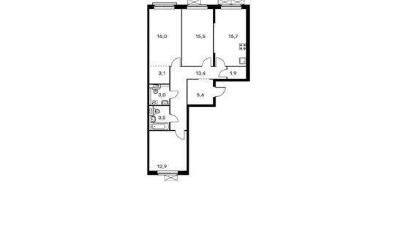 3-комнатная квартира, 90.6 м<sup>2</sup>, 3 этаж