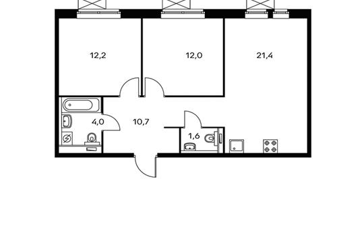 2-комнатная квартира, 61.9 м<sup>2</sup>, 9 этаж