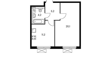 1-комнатная квартира, 40.9 м<sup>2</sup>, 20 этаж