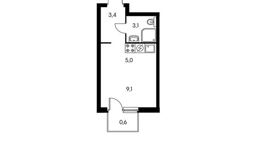 1-комнатная квартира, 21.3 м<sup>2</sup>, 3 этаж