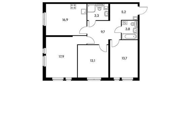 3-комн квартира, 84 м2, 3 этаж
