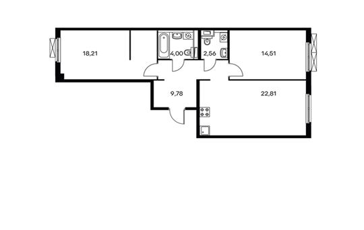 2-комнатная квартира, 71.87 м<sup>2</sup>, 6 этаж