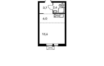 1-комнатная квартира, 25.9 м<sup>2</sup>, 20 этаж
