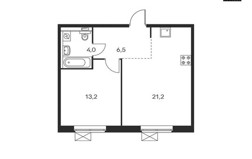 1-комнатная квартира, 44.9 м<sup>2</sup>, 16 этаж