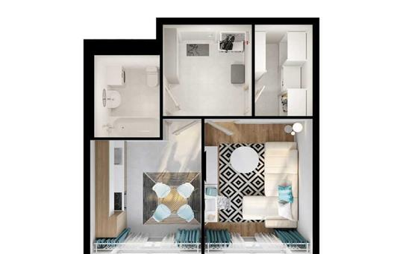 1-комнатная квартира, 34 м2, 25 этаж