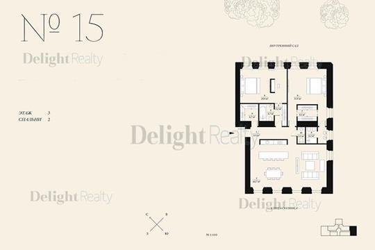 3-комнатная квартира, 169.3 м<sup>2</sup>, 3 этаж