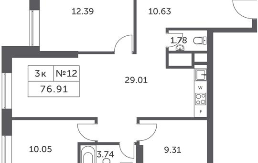 3-комнатная квартира, 76.91 м<sup>2</sup>, 29 этаж