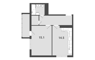 1-комнатная квартира, 43.7 м<sup>2</sup>, 21 этаж_1