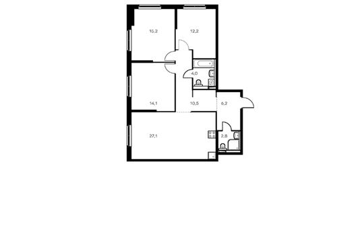 3-комнатная квартира, 92.1 м<sup>2</sup>, 2 этаж