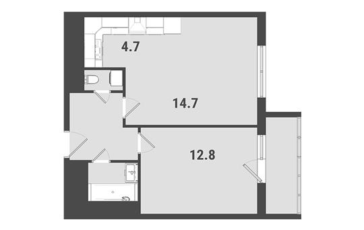 1-комнатная квартира, 41.9 м<sup>2</sup>, 16 этаж_1