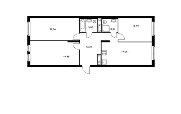 3-комнатная квартира, 85.33 м<sup>2</sup>, 7 этаж