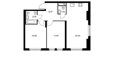 2-комнатная квартира, 61.78 м<sup>2</sup>, 7 этаж