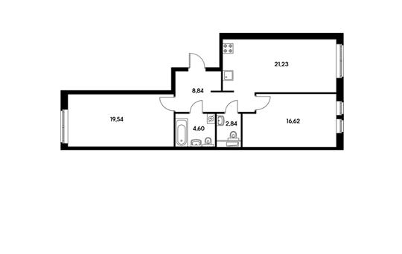 2-комнатная квартира, 73.67 м<sup>2</sup>, 3 этаж