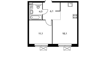 1-комнатная квартира, 39.3 м<sup>2</sup>, 25 этаж