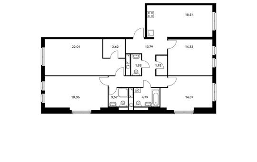 4-комнатная квартира, 117.48 м<sup>2</sup>, 10 этаж
