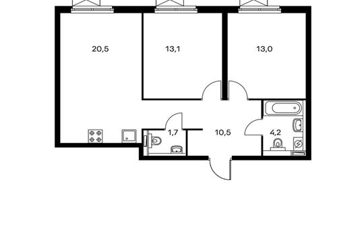 2-комнатная квартира, 63 м<sup>2</sup>, 2 этаж