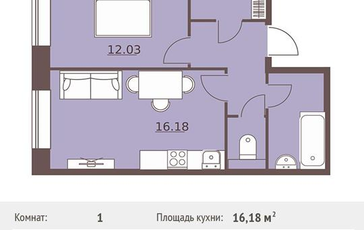 1-комнатная квартира, 42.8 м<sup>2</sup>, 1 этаж