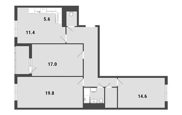 3-комнатная квартира, 91.2 м<sup>2</sup>, 22 этаж