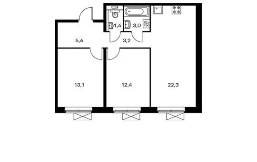 2-комнатная квартира, 61 м<sup>2</sup>, 9 этаж