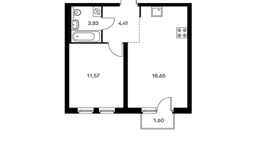 1-комнатная квартира, 38.95 м<sup>2</sup>, 8 этаж