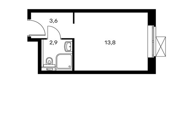 1-комнатная квартира, 20.3 м<sup>2</sup>, 7 этаж