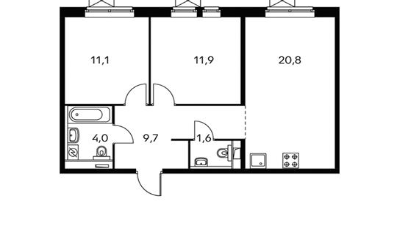 2-комнатная квартира, 59.1 м<sup>2</sup>, 11 этаж
