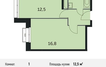 1-комнатная квартира, 36.5 м<sup>2</sup>, 6 этаж
