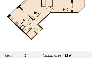 2-комнатная квартира, 66.9 м<sup>2</sup>, 20 этаж
