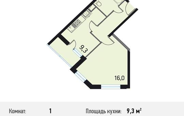 1-комнатная квартира, 36.8 м<sup>2</sup>, 3 этаж