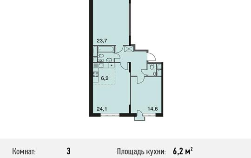 3-комнатная квартира, 78.3 м<sup>2</sup>, 9 этаж