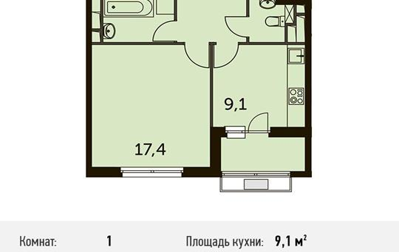 1-комнатная квартира, 37.9 м<sup>2</sup>, 7 этаж