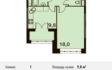 1-комнатная квартира, 39.2 м<sup>2</sup>, 1 этаж