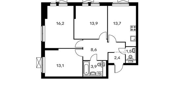 3-комнатная квартира, 73.3 м<sup>2</sup>, 24 этаж
