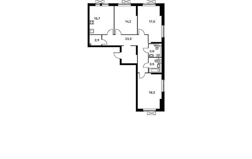 3-комнатная квартира, 97.7 м<sup>2</sup>, 3 этаж