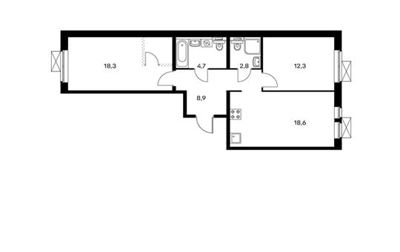 2-комнатная квартира, 65.6 м<sup>2</sup>, 10 этаж