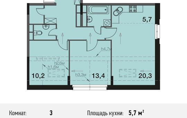3-комнатная квартира, 70.3 м<sup>2</sup>, 4 этаж