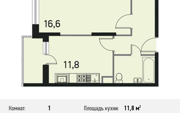 1-комнатная квартира, 42.1 м<sup>2</sup>, 22 этаж