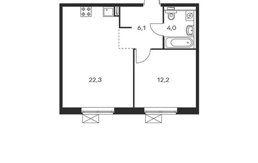 1-комнатная квартира, 44.6 м<sup>2</sup>, 9 этаж
