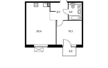 1-комнатная квартира, 45.5 м<sup>2</sup>, 5 этаж