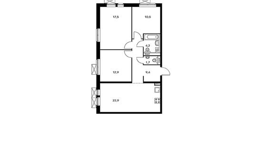 3-комнатная квартира, 79.1 м<sup>2</sup>, 14 этаж