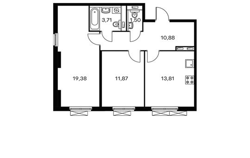 2-комнатная квартира, 61.15 м<sup>2</sup>, 13 этаж