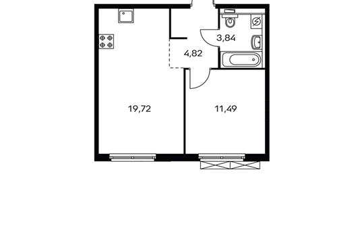 1-комнатная квартира, 39.85 м<sup>2</sup>, 6 этаж