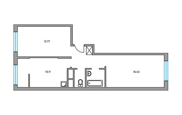 2-комнатная квартира, 51.41 м<sup>2</sup>, 2 этаж