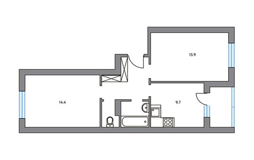 2-комнатная квартира, 53.9 м<sup>2</sup>, 3 этаж