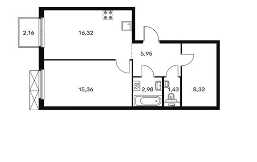 1-комнатная квартира, 51 м<sup>2</sup>, 3 этаж